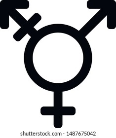 Transgender sex icon. Gender symbol. Black sign on a white background.