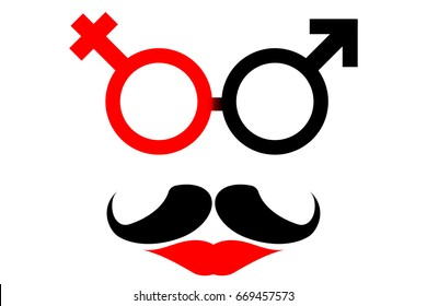 Transgender symbol. A merger of male and female sex symbol with beard and red lip. Funny restroom sign for all genders. EPS 10 vector illustration for fashion design, wallpaper, symbol, logo etc.