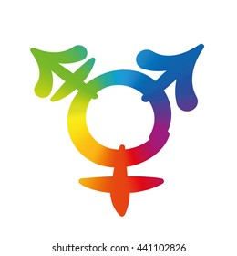 Transgender symbol - rainbow gradient colored logo, pleasant rounded typeface - isolated vector illustration on white background.