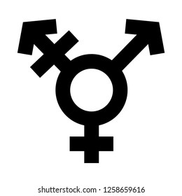 Transgender Symbol in Simple Outline Violet Color Design. Sexual Orientation Icon. Vector Gender Sign.