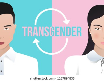 transgender and Transsexual concept with half male and half female and circle arrow verctor design