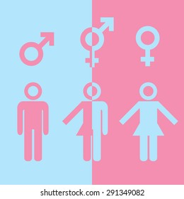 Transgender transsexual concept. Icon of different gender persons with male female marker. Vector illustration on pink blue background.