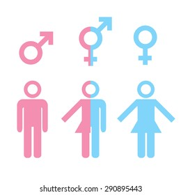 Transgender transsexual concept. Icon set of different gender persons with male female markers. Blue pink colored vector illustration on white background. For your business and design.