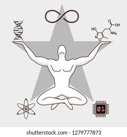 TransHumanism Symbolics Concept - Fusion Energy, Electronic Chip, Chemical Molecule, DNA, Eternity Symbols Around Man With Star Background