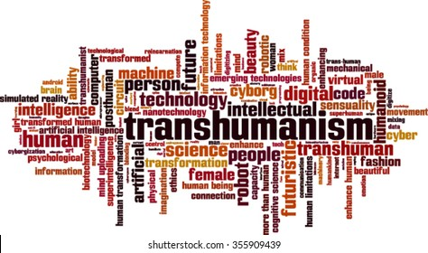 Transhumanism word cloud concept. Vector illustration