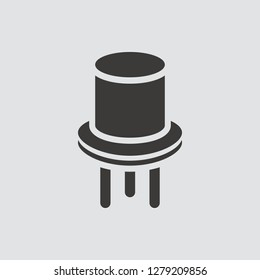 Transistor icon isolated of flat style. Vector illustration.