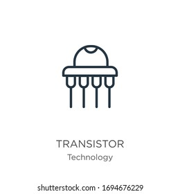 Transistor icon. Thin linear transistor outline icon isolated on white background from technology collection. Line vector sign, symbol for web and mobile