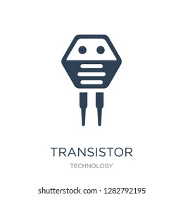 transistor icon vector on white background, transistor trendy filled icons from Technology collection, transistor vector illustration