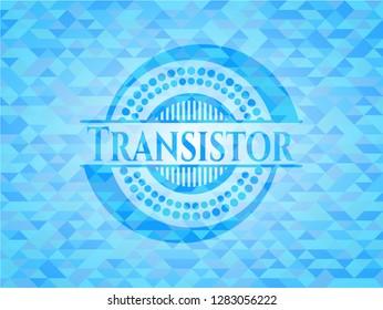 Transistor sky blue emblem. Mosaic background