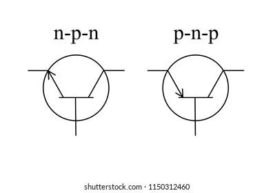 Transistor type n-p-n transistor type p-n-p. Conventional symbols in electrical circuits.