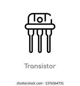 transistor vector line icon. Simple element illustration. transistor outline icon from technology concept. Can be used for web and mobile