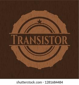 Transistor wooden emblem. Vintage.