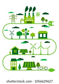 Transition to environmentally friendly world concept. Alternative clean energy. Ecology infographic vector illustration