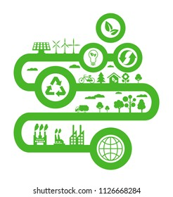 Transition to environmentally friendly world concept. Alternative clean energy. Ecology green infographic vector illustration