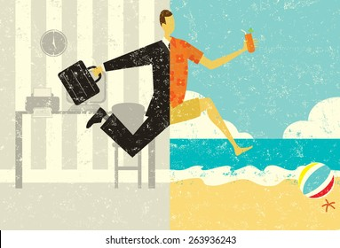 Transition to Vacation A businessman with a briefcase making a split image transition, from the suit and the office, to casual clothes on a beach vacation.
