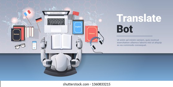translate bot at workplace modern robot translating text document translation artificial intelligence concept top angle desktop view flat horizontal copy space