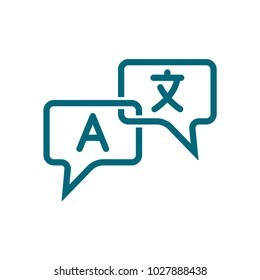 translate vector icon, translate icon conception with speech bubble icon