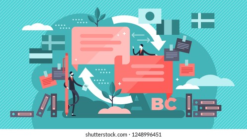 Translate vector illustration. Flat mini persons concept. Language knowledge and talking using dictionary. Multilingual documents and foreign speech education. International culture business teamwork