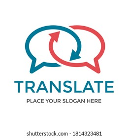 Translate vector logo template. Tis design use chat symbol. Suitable for language.