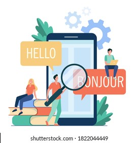 Translating app on mobile phone. People using online translation service, translating from English into French. Vector illustration for foreign language learning, online service, communication concept