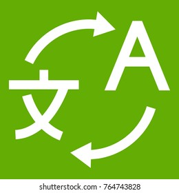 Translating icon white isolated on green background. Vector illustration