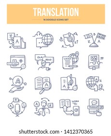 Translation doodle icons collection. Language and text translation, translator, dictionary and communication. Vector hand drawn illustrations for website and printing materials