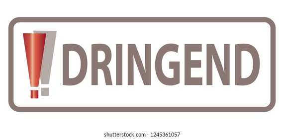 Translation: Dringend = Urgent / Concept - German Language - Deutsche Sprache / Exclamation Mark, Web Banner