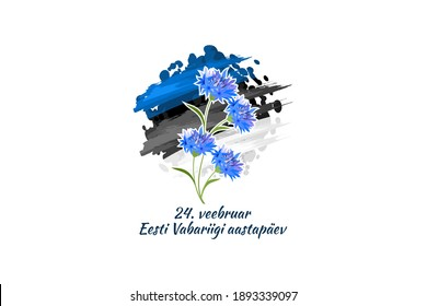 Translation: February 24, Independence day of Estonia. Happy Independence day with national flower vector illustration. Suitable for greeting card and banner