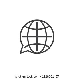 Translation globe outline icon. linear style sign for mobile concept and web design. language choose simple line vector icon. Symbol, logo illustration. Pixel perfect vector graphics