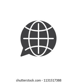 Translation globe vector icon. filled flat sign for mobile concept and web design. language choose simple solid icon. Symbol, logo illustration. Pixel perfect vector graphics