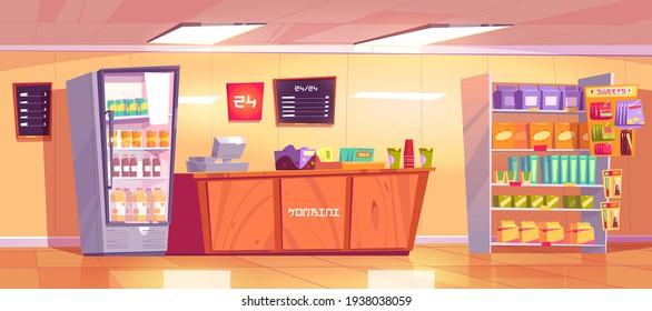 Translation: konbini on counter, sweets on rack