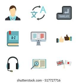Translation of language icons set. Flat illustration of 9 translation of language vector icons for web