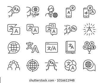 Translation line icon set. Included the icons as translate, translator, language, bilingual, dictionary, communication, bi-racial and more.