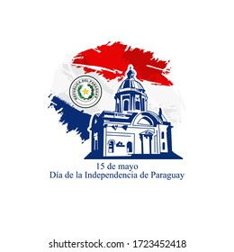 Translation: May 15, Independence Day of Paraguay. Independence day of Paraguay vector illustration. Suitable for greeting card, poster and banner