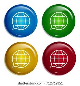 Translation multi color gradient glossy badge icon set. Realistic shiny badge icon or logo mockup