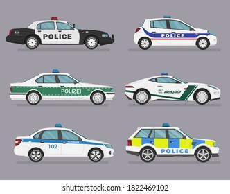 Translation: police. Set of isolated police cars. 4x4, sedan, hatchback, sport car. Flat illustration, icon for graphic and web design. Side view on grey background.