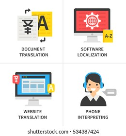 Translation service concept. Document translation, software localization, website translation, phone interpreting. Vector illustration.