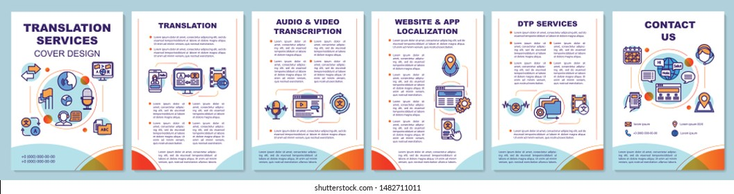 Translation services brochure template layout. Audio transcription. Flyer, booklet, leaflet print design with linear illustrations. Vector page layouts for magazines, reports, advertising posters