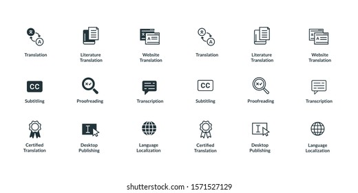 Translation, transcription and DTP related icon sets in filled and outline version.