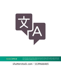 Translation, Translator Icon Vector Logo Template