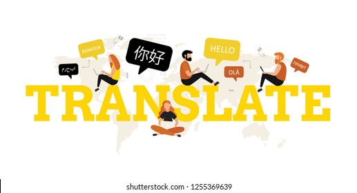 Translation. Vector concept with people and dialogue speech bubbles. Online multi language translator. Different languages. Translation app.  Technology.
