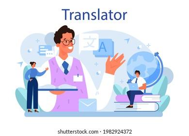Translator concept. Linguist translating document, books and speach. Multilanguage translator using dictionary, translation service. Isolated vector illustration
