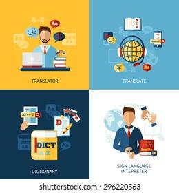 Translator design concept set with sign language interpreter flat icons isolated vector illustration