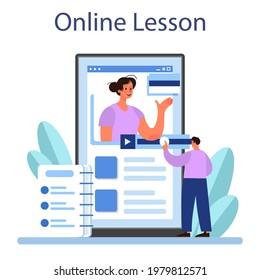 Translator online service or platform. Linguist translating documents. Multilanguage translation service. Online lesson. Flat vector illustration