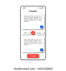 Translator online smartphone interface vector template. Mobile app page color design layout. Text translation options screen. Flat UI for application. Foreign languages interpreter phone display