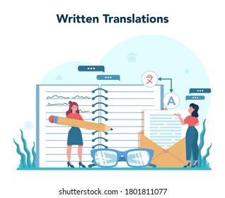 Translator and translation service concept. Polyglot translating document, books and speach. Multilanguage translator using dictionary. Isolated vector illustration