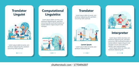 Translator and translation service mobile application banner set. Polyglot translating document, books and speach. Multilanguage translator using dictionary. Isolated vector illustration