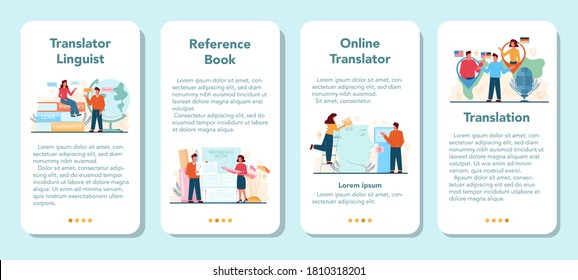 Translator and translation service mobile application banner set. Linguist translating document, books and speach. Multilanguage translator using dictionary. Isolated vector illustration