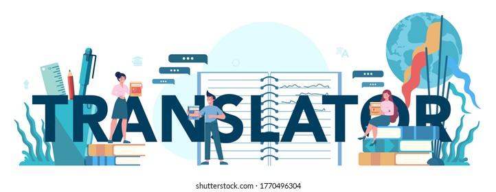 Translator and translation service typographic header concept. Polyglot translating document, books and speach. Multilanguage translator using dictionary. Isolated vector illustration
