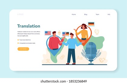 Translator and translation service web banner or landing page. Linguist translating document, books and speach. Multilanguage translator using dictionary. Isolated vector illustration